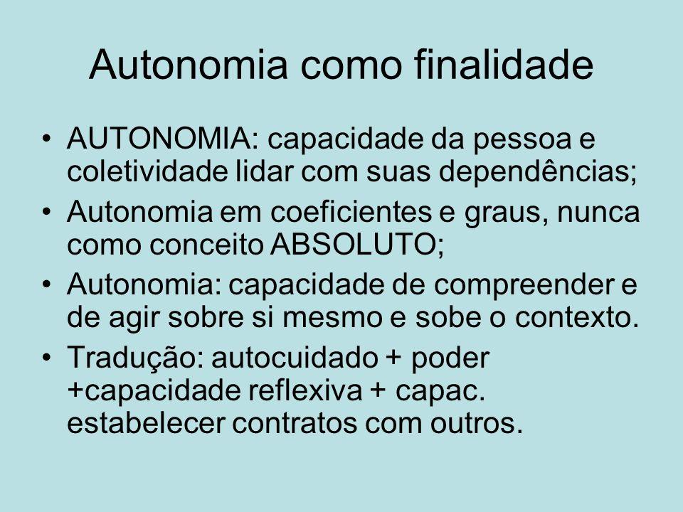Autonomia como finalidade AUTONOMIA: capacidade da pessoa e coletividade lidar com suas dependências; Autonomia em coeficientes e graus, nunca como conceito ABSOLUTO; Autonomia: capacidade de compreender e de agir sobre si mesmo e sobe o contexto.