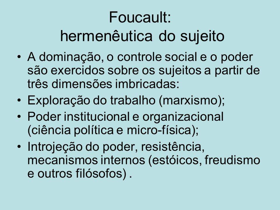 Foucault: hermenêutica do sujeito A dominação, o controle social e o poder são exercidos sobre os sujeitos a partir de três dimensões imbricadas: Expl