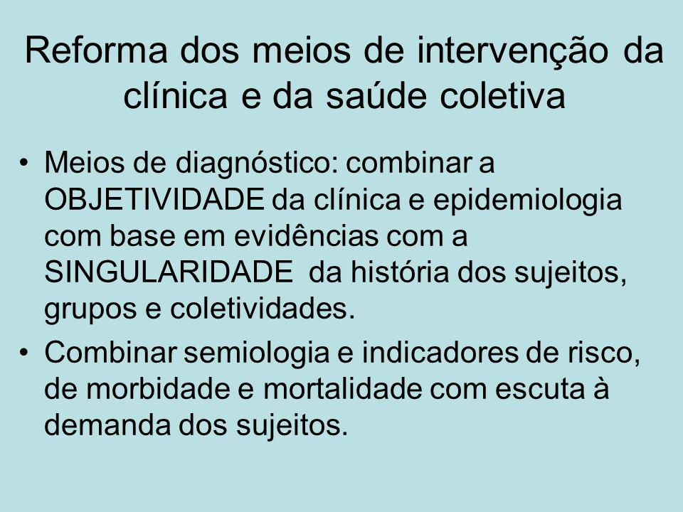 Reforma dos meios de intervenção da clínica e da saúde coletiva Meios de diagnóstico: combinar a OBJETIVIDADE da clínica e epidemiologia com base em evidências com a SINGULARIDADE da história dos sujeitos, grupos e coletividades.