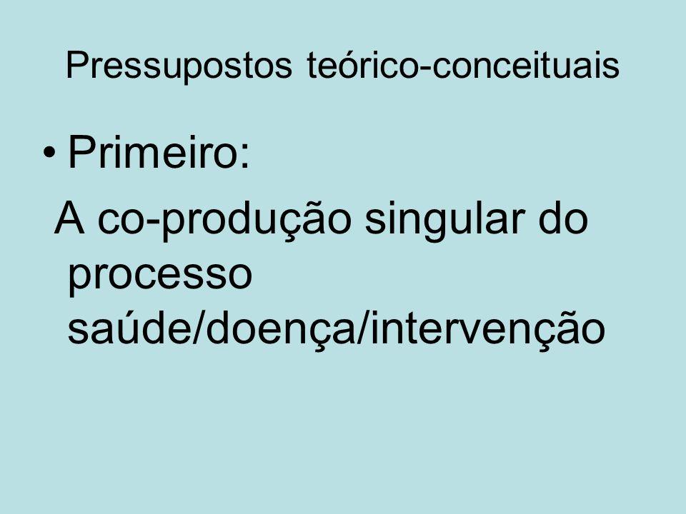 Pressupostos teórico-conceituais Primeiro: A co-produção singular do processo saúde/doença/intervenção