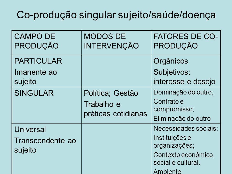 Co-produção singular sujeito/saúde/doença CAMPO DE PRODUÇÃO MODOS DE INTERVENÇÃO FATORES DE CO- PRODUÇÃO PARTICULAR Imanente ao sujeito Orgânicos Subj