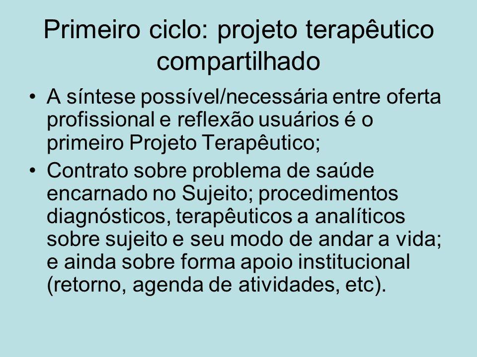 Primeiro ciclo: projeto terapêutico compartilhado A síntese possível/necessária entre oferta profissional e reflexão usuários é o primeiro Projeto Ter