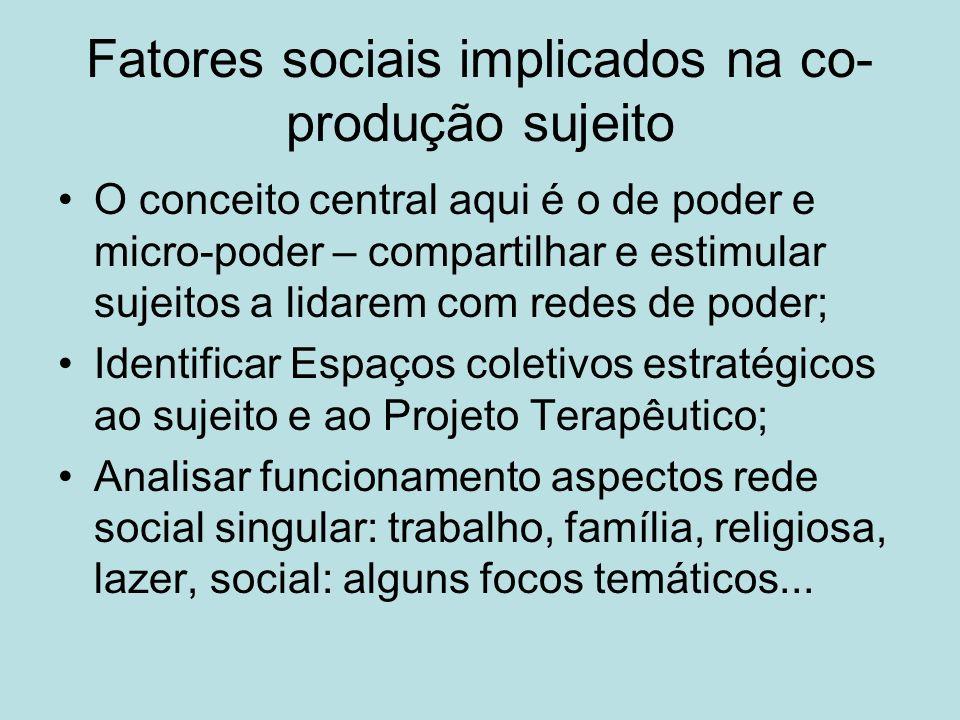 Fatores sociais implicados na co- produção sujeito O conceito central aqui é o de poder e micro-poder – compartilhar e estimular sujeitos a lidarem co