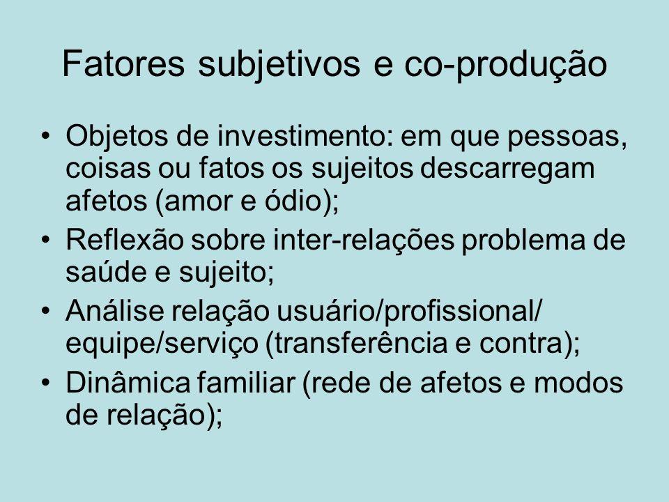 Fatores subjetivos e co-produção Objetos de investimento: em que pessoas, coisas ou fatos os sujeitos descarregam afetos (amor e ódio); Reflexão sobre