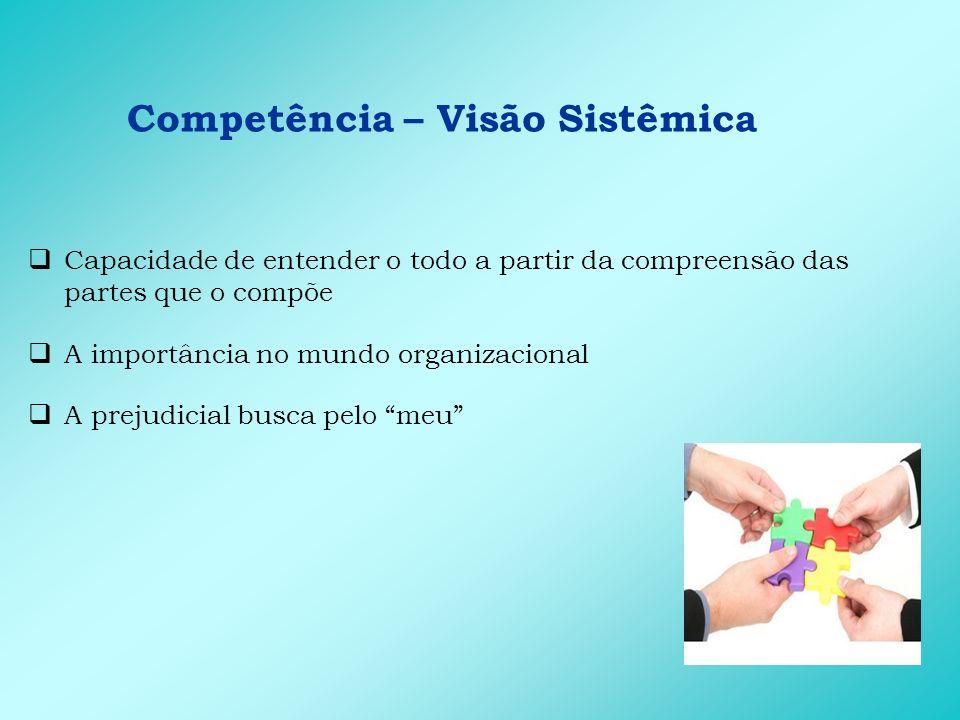 Competência – Visão Sistêmica Capacidade de entender o todo a partir da compreensão das partes que o compõe A importância no mundo organizacional A pr