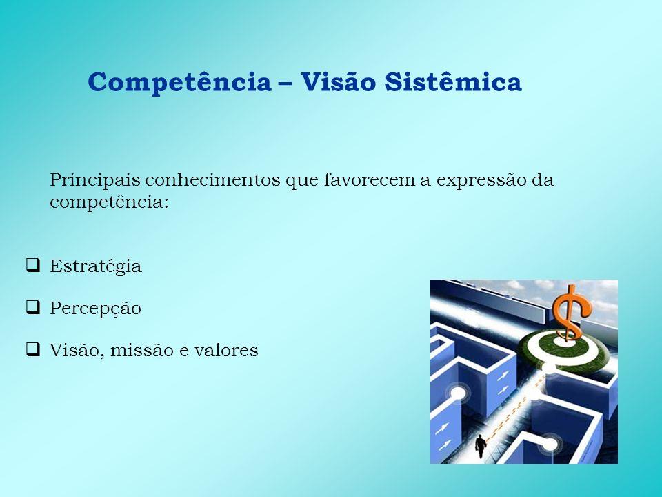 Competência – Visão Sistêmica Principais conhecimentos que favorecem a expressão da competência: Estratégia Percepção Visão, missão e valores