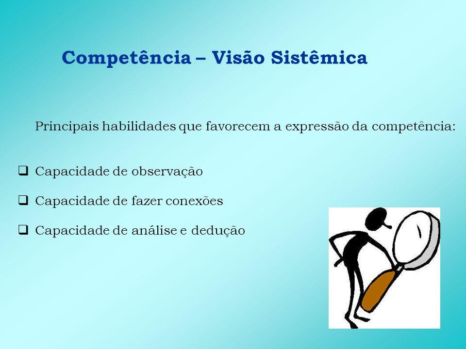 Competência – Visão Sistêmica Principais habilidades que favorecem a expressão da competência: Capacidade de observação Capacidade de fazer conexões C