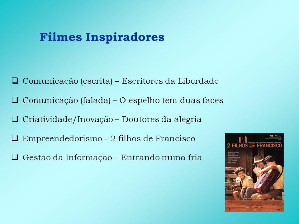 Filmes Inspiradores Comunicação (escrita) – Escritores da Liberdade Comunicação (falada) – O espelho tem duas faces Criatividade/Inovação – Doutores d