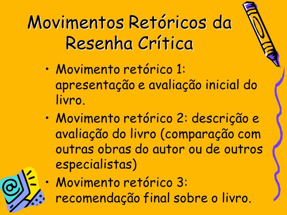 Movimentos Retóricos da Resenha Crítica Movimento retórico 1: apresentação e avaliação inicial do livro. Movimento retórico 2: descrição e avaliação d