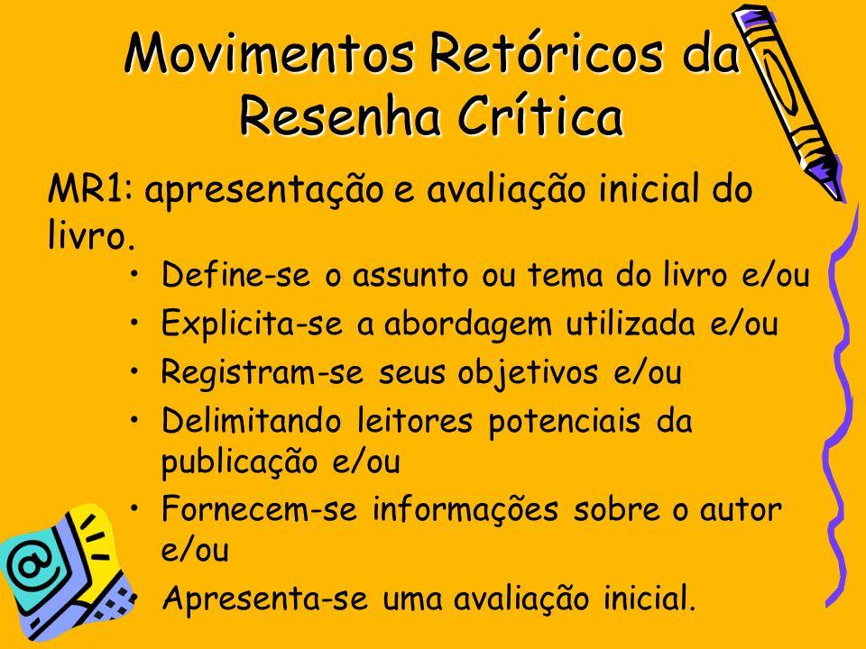 Movimentos Retóricos da Resenha Crítica Define-se o assunto ou tema do livro e/ou Explicita-se a abordagem utilizada e/ou Registram-se seus objetivos