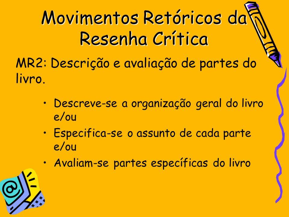 Movimentos Retóricos da Resenha Crítica Descreve-se a organização geral do livro e/ou Especifica-se o assunto de cada parte e/ou Avaliam-se partes esp