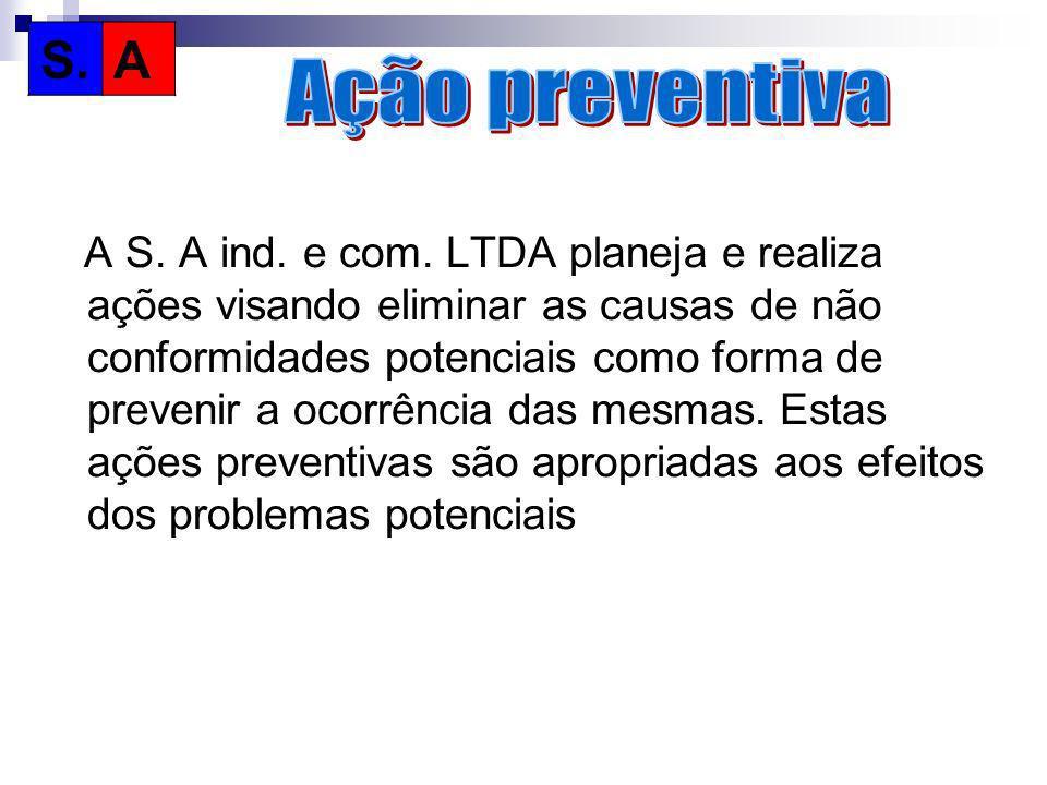 A S. A ind. e com. LTDA planeja e realiza ações visando eliminar as causas de não conformidades potenciais como forma de prevenir a ocorrência das mes