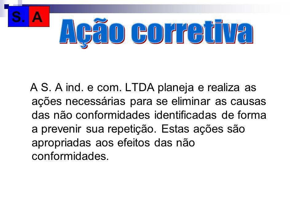 A S. A ind. e com. LTDA planeja e realiza as ações necessárias para se eliminar as causas das não conformidades identificadas de forma a prevenir sua