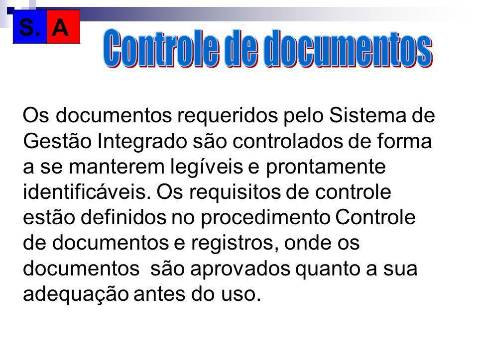 Os documentos requeridos pelo Sistema de Gestão Integrado são controlados de forma a se manterem legíveis e prontamente identificáveis. Os requisitos