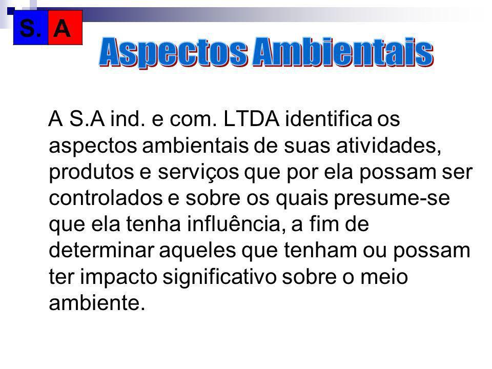A S.A ind. e com. LTDA identifica os aspectos ambientais de suas atividades, produtos e serviços que por ela possam ser controlados e sobre os quais p