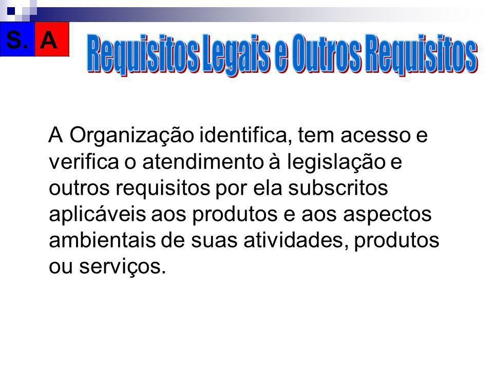 A Organização identifica, tem acesso e verifica o atendimento à legislação e outros requisitos por ela subscritos aplicáveis aos produtos e aos aspect