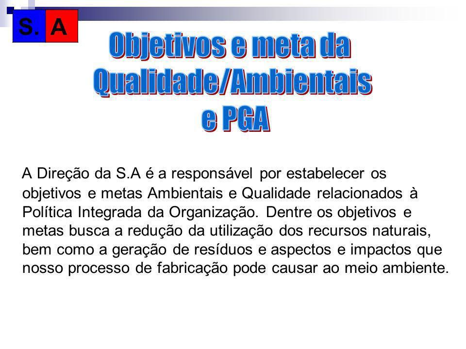 A Direção da S.A é a responsável por estabelecer os objetivos e metas Ambientais e Qualidade relacionados à Política Integrada da Organização. Dentre