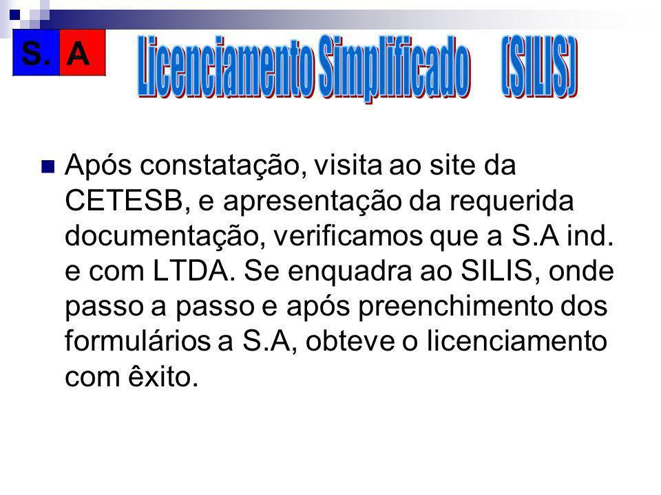 Após constatação, visita ao site da CETESB, e apresentação da requerida documentação, verificamos que a S.A ind. e com LTDA. Se enquadra ao SILIS, ond