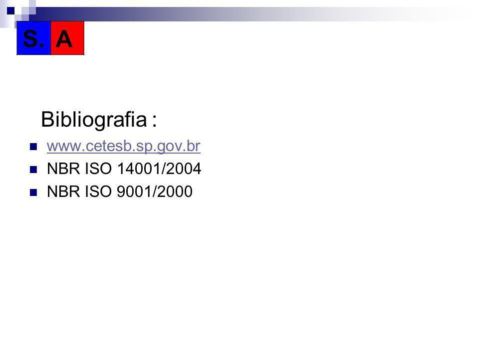 Bibliografia : www.cetesb.sp.gov.br NBR ISO 14001/2004 NBR ISO 9001/2000 S.A