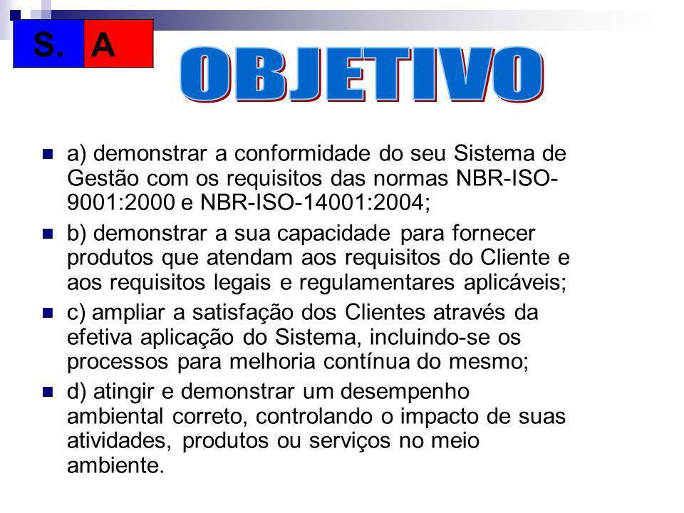 a) demonstrar a conformidade do seu Sistema de Gestão com os requisitos das normas NBR-ISO- 9001:2000 e NBR-ISO-14001:2004; b) demonstrar a sua capaci
