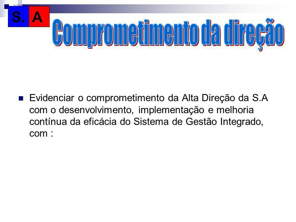 Evidenciar o comprometimento da Alta Direção da S.A com o desenvolvimento, implementação e melhoria contínua da eficácia do Sistema de Gestão Integrad