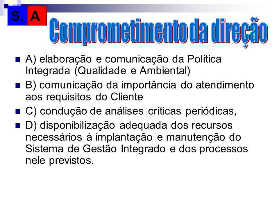 A) elaboração e comunicação da Política Integrada (Qualidade e Ambiental) B) comunicação da importância do atendimento aos requisitos do Cliente C) co