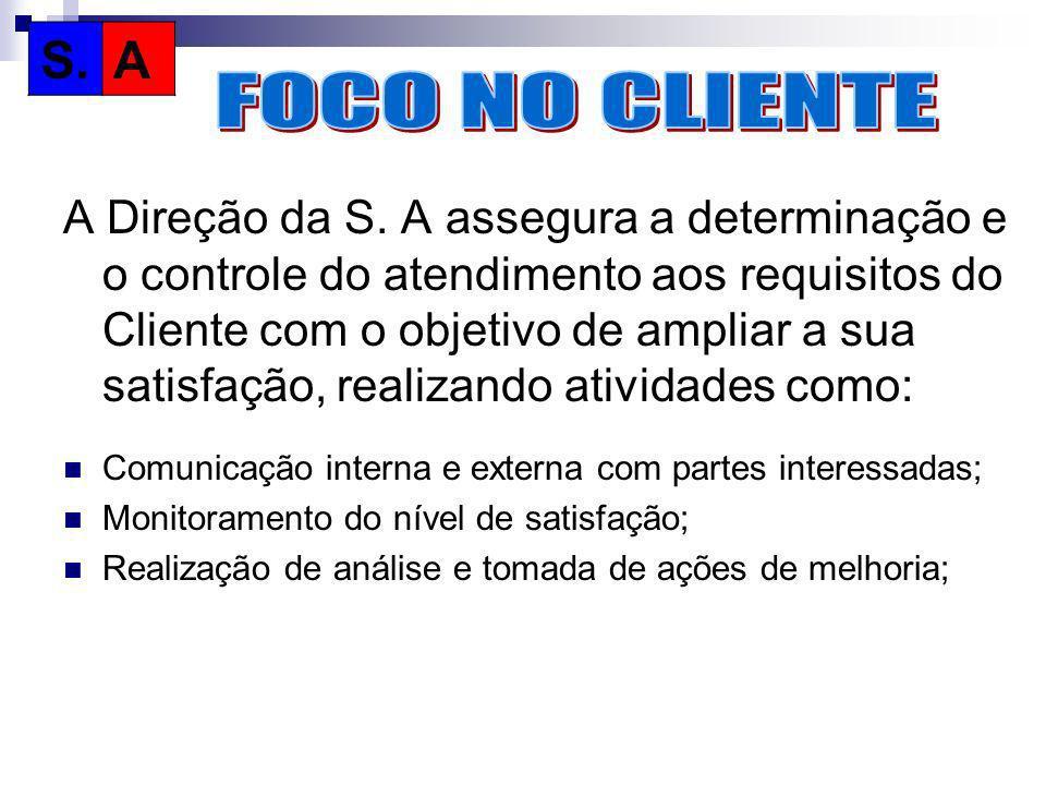 A Direção da S. A assegura a determinação e o controle do atendimento aos requisitos do Cliente com o objetivo de ampliar a sua satisfação, realizando