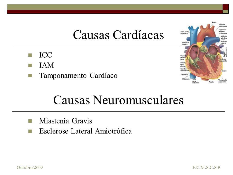 Causas Cardíacas ICC IAM Tamponamento Cardíaco Causas Neuromusculares Miastenia Gravis Esclerose Lateral Amiotrófica Outubro/2009 F.C.M.S.C.S.P.