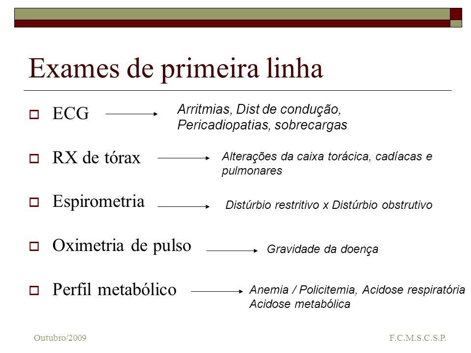 Exames de primeira linha ECG RX de tórax Espirometria Oximetria de pulso Perfil metabólico Arritmias, Dist de condução, Pericadiopatias, sobrecargas A