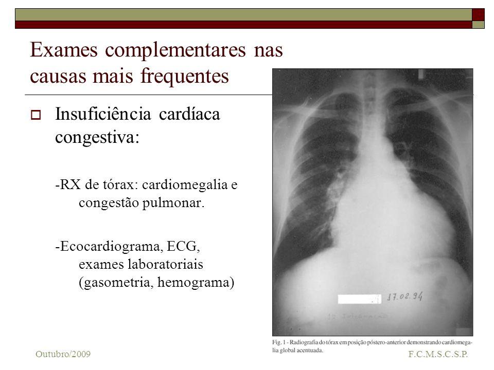 Exames complementares nas causas mais frequentes Insuficiência cardíaca congestiva: -RX de tórax: cardiomegalia e congestão pulmonar. -Ecocardiograma,
