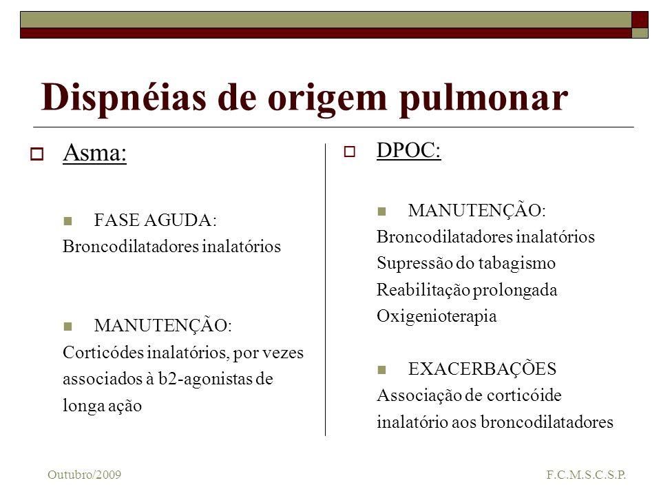 Dispnéias de origem pulmonar Asma: FASE AGUDA: Broncodilatadores inalatórios MANUTENÇÃO: Corticódes inalatórios, por vezes associados à b2-agonistas d