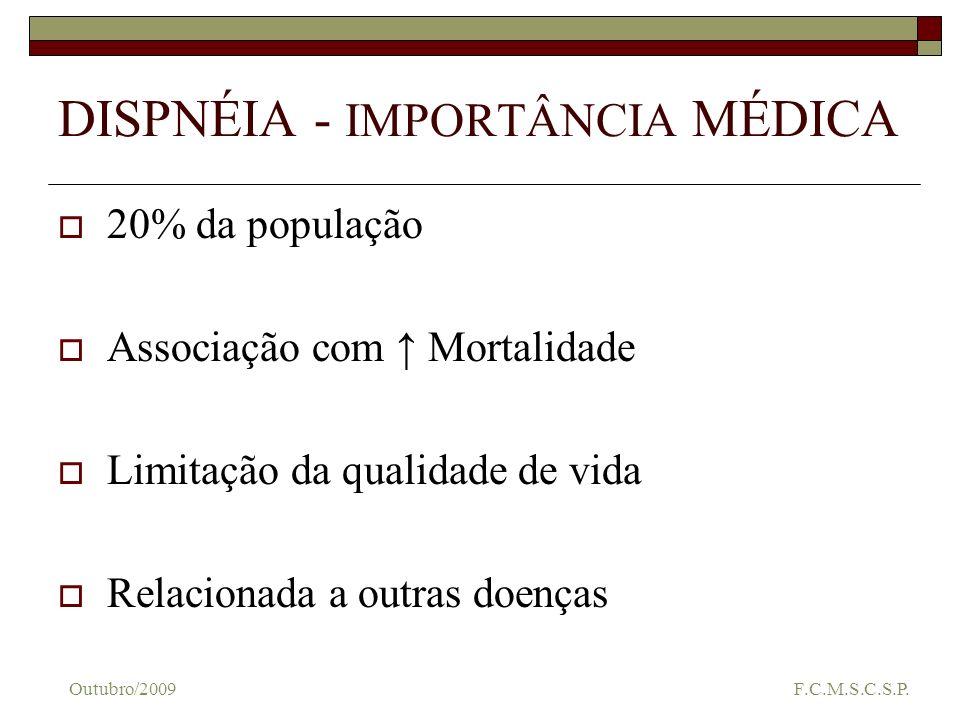 DISPNÉIA - IMPORTÂNCIA MÉDICA 20% da população Associação com Mortalidade Limitação da qualidade de vida Relacionada a outras doenças Outubro/2009 F.C