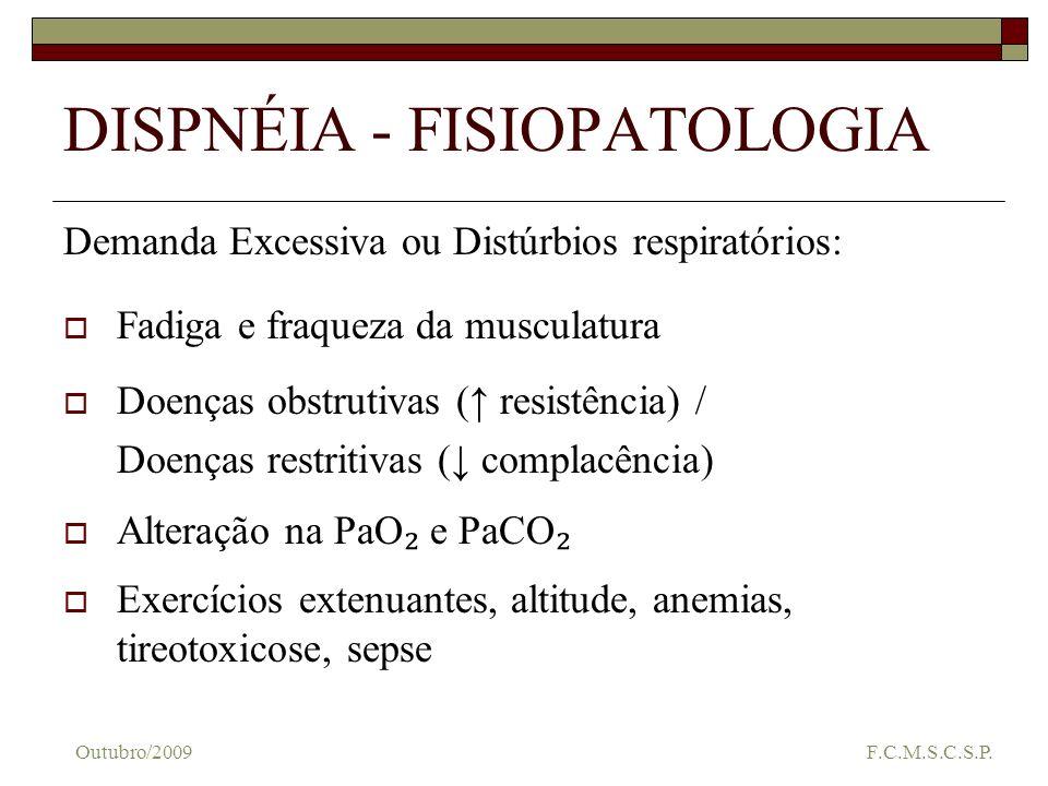 DISPNÉIA - FISIOPATOLOGIA Demanda Excessiva ou Distúrbios respiratórios: Fadiga e fraqueza da musculatura Doenças obstrutivas ( resistência) / Doenças