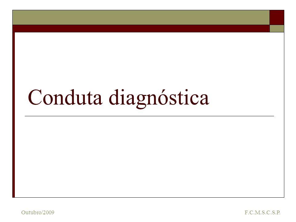 Exames de primeira linha ECG RX de tórax Espirometria Oximetria de pulso Perfil metabólico Arritmias, Dist de condução, Pericadiopatias, sobrecargas Alterações da caixa torácica, cadíacas e pulmonares Distúrbio restritivo x Distúrbio obstrutivo Gravidade da doença Anemia / Policitemia, Acidose respiratória Acidose metabólica Outubro/2009 F.C.M.S.C.S.P.