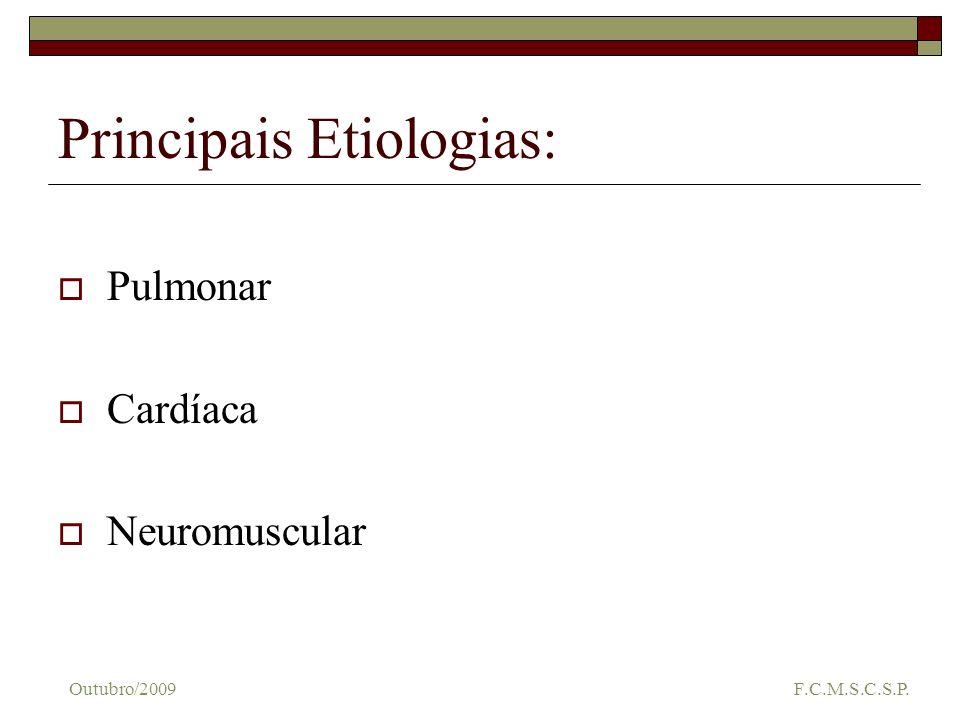 Dispnéias de origem pulmonar Tromboembolismo Pulmonar (TEP): INÍCIO IMEDIATO APÓS SUSPEITA CLÍNICA Anticoagulantes Drogas trombolíticas, seguidas de anticoagulantes para prevenção de recorrências Outubro/2009 F.C.M.S.C.S.P.
