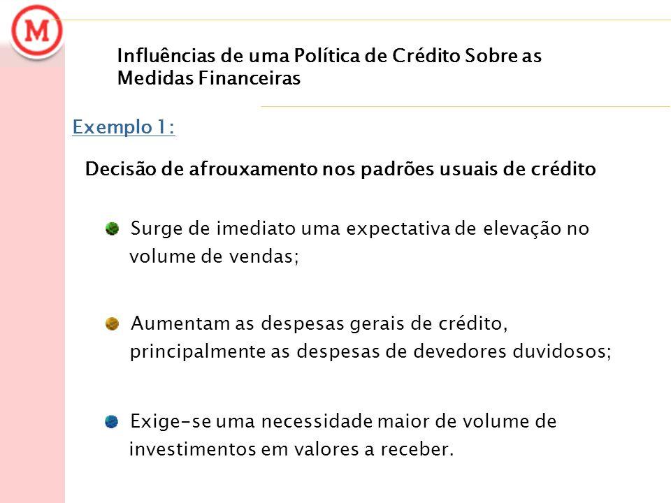 Influências de uma Política de Crédito Sobre as Medidas Financeiras Exemplo 1: Decisão de afrouxamento nos padrões usuais de crédito Surge de imediato