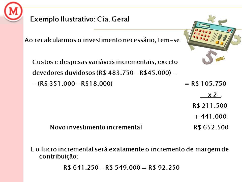 Exemplo Ilustrativo: Cia. Geral Ao recalcularmos o investimento necessário, tem-se: Custos e despesas variáveis incrementais, exceto devedores duvidos