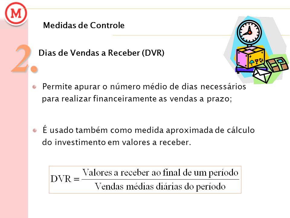 Medidas de Controle2. Dias de Vendas a Receber (DVR) Permite apurar o número médio de dias necessários para realizar financeiramente as vendas a prazo