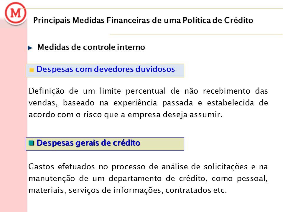 Principais Medidas Financeiras de uma Política de Crédito Despesas com devedores duvidosos Definição de um limite percentual de não recebimento das ve