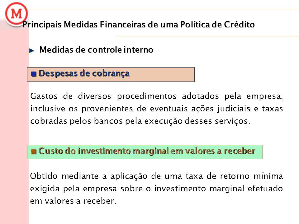 Principais Medidas Financeiras de uma Política de Crédito Despesas de cobrança Despesas de cobrança Gastos de diversos procedimentos adotados pela emp
