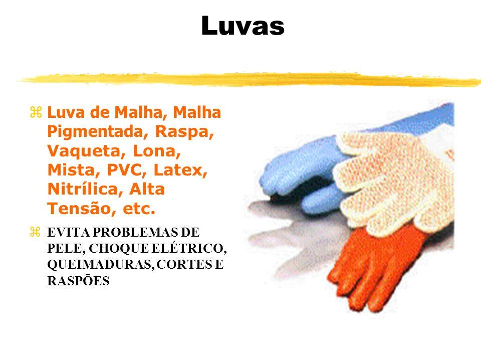 Luvas Luva de Malha, Malha Pigmentada, Raspa, Vaqueta, Lona, Mista, PVC, Latex, Nitrílica, Alta Tensão, etc. EVITA PROBLEMAS DE PELE, CHOQUE ELÉTRICO,