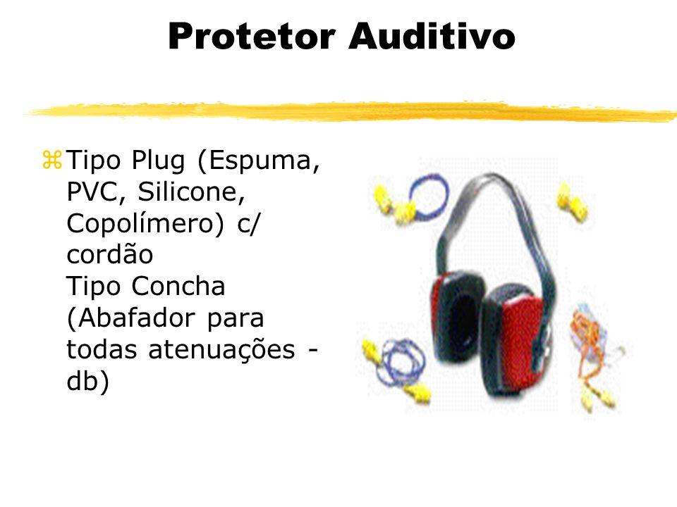 Protetor Auditivo zTipo Plug (Espuma, PVC, Silicone, Copolímero) c/ cordão Tipo Concha (Abafador para todas atenuações - db)
