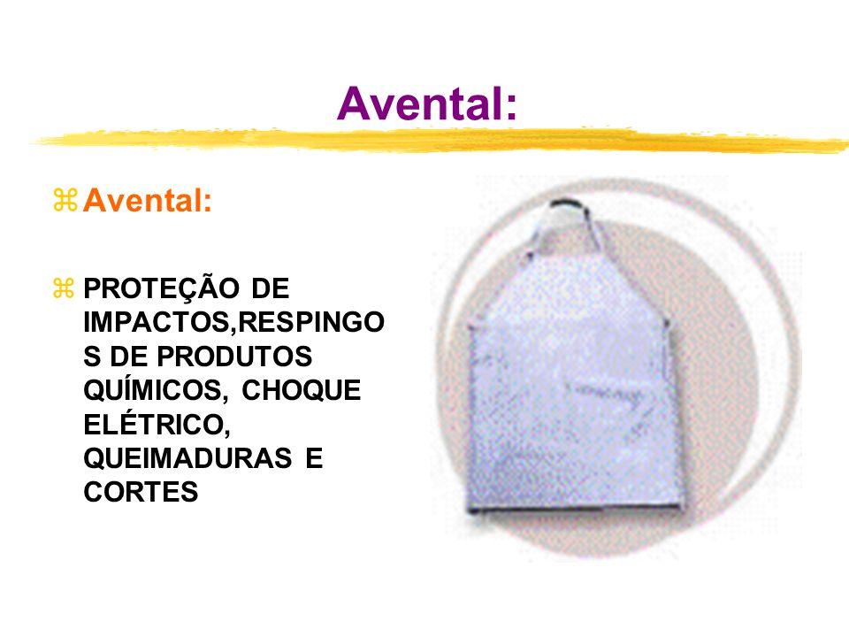 Avental: zAvental: zPROTEÇÃO DE IMPACTOS,RESPINGO S DE PRODUTOS QUÍMICOS, CHOQUE ELÉTRICO, QUEIMADURAS E CORTES