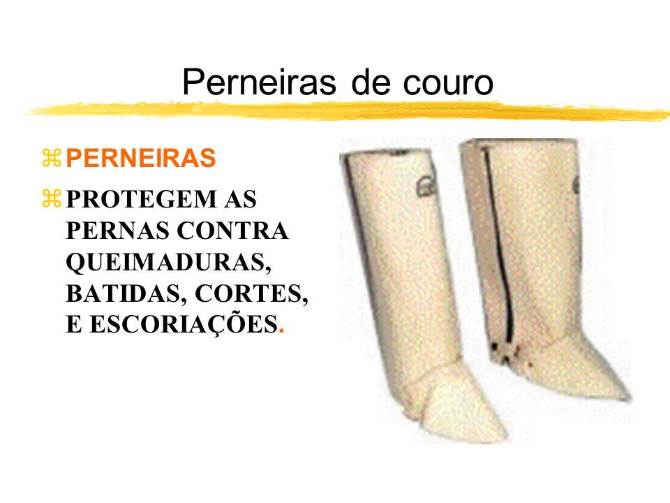 Perneiras de couro zPERNEIRAS zPROTEGEM AS PERNAS CONTRA QUEIMADURAS, BATIDAS, CORTES, E ESCORIAÇÕES.
