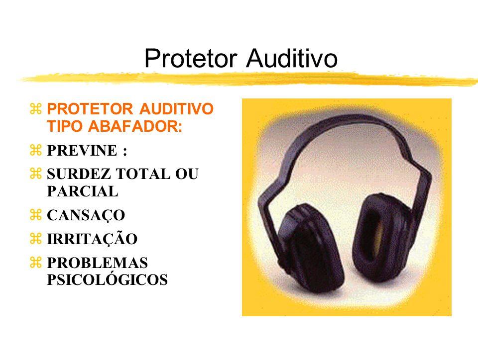 Protetor Auditivo zPROTETOR AUDITIVO TIPO ABAFADOR: zPREVINE : zSURDEZ TOTAL OU PARCIAL zCANSAÇO zIRRITAÇÃO zPROBLEMAS PSICOLÓGICOS