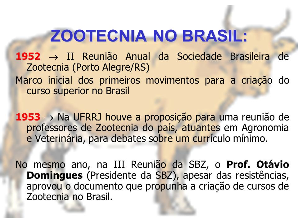 1844 Conde de Gasparin, propõe uma distinção entre as áreas: Agricultura Técnica de cultivo de plantas Zootecnia Técnica de criação animal 1848 Instal