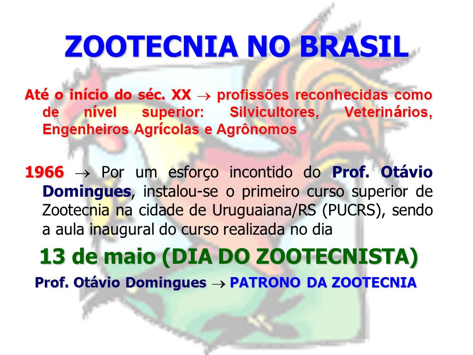 ZOOTECNIA NO BRASIL: 1952 1952 II Reunião Anual da Sociedade Brasileira de Zootecnia (Porto Alegre/RS) Marco inicial dos primeiros movimentos para a c