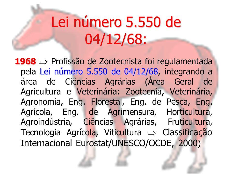Lei número 5.550 de 04/12/68 Lei número 5.550 de 04/12/68: 1968 Lei número 5.550 de 04/12/68 1968 Profissão de Zootecnista foi regulamentada pela Lei número 5.550 de 04/12/68, integrando a área de Ciências Agrárias (Área Geral de Agricultura e Veterinária: Zootecnia, Veterinária, Agronomia, Eng.