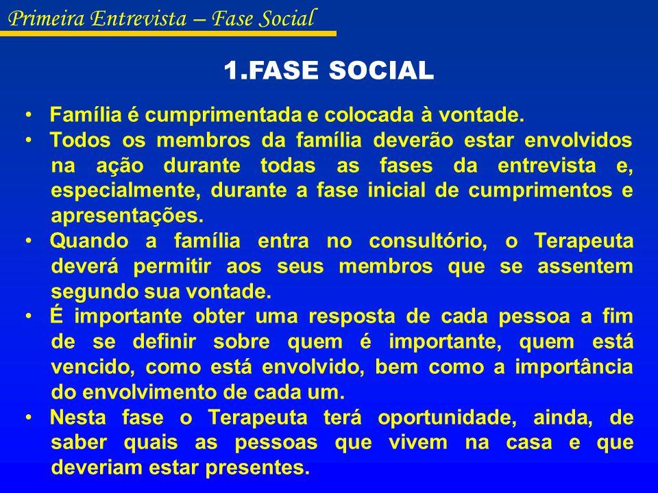 Primeira Entrevista – Fase Social 1.FASE SOCIAL Família é cumprimentada e colocada à vontade. Todos os membros da família deverão estar envolvidos na