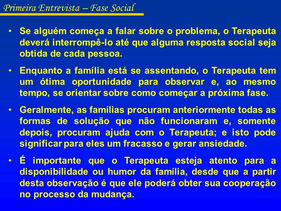 O Terapeuta deverá observar as relações entre pais e filhos, na medida em que seus membros se organizam dentro do consultório.
